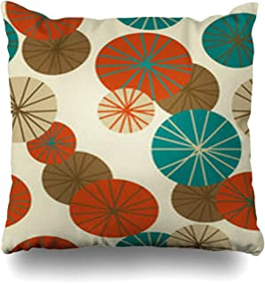 Alfredon Throw Pillow Covers Artwork Mid Retro Century Modern Pattern 60S 50S Vintage Abstract Retroillustrations Pillowcase Square Size 16 x 16 Inches Home Decor Cushion Cases