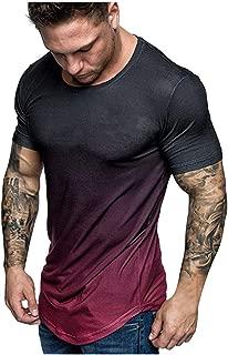 iLOOSKR Summer Fashion Men's Slim Casual Fit Gradient Color Short Sleeve Top Blouse