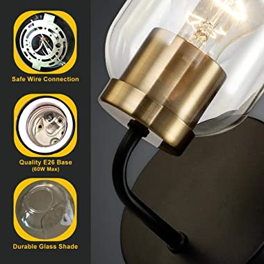 Hamilyeah Gold Wall Sconces Set of Two, Modern Bathroom Sconces Wall Lighting Fixture with Clear Glass Shade,Black and Brass
