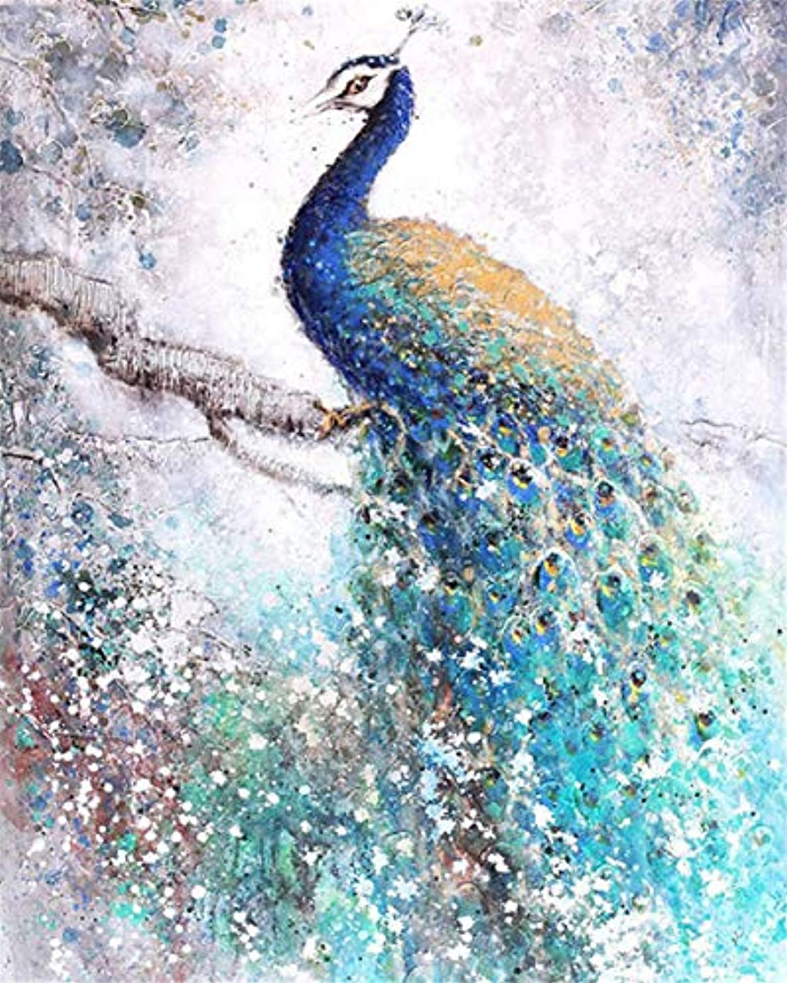 Dylan's cabin DIY 5D Diamond Painting Kits for Adults,Full Drill Embroidery Paint with Diamond for Home Wall Decor(peacock/16x12inch)