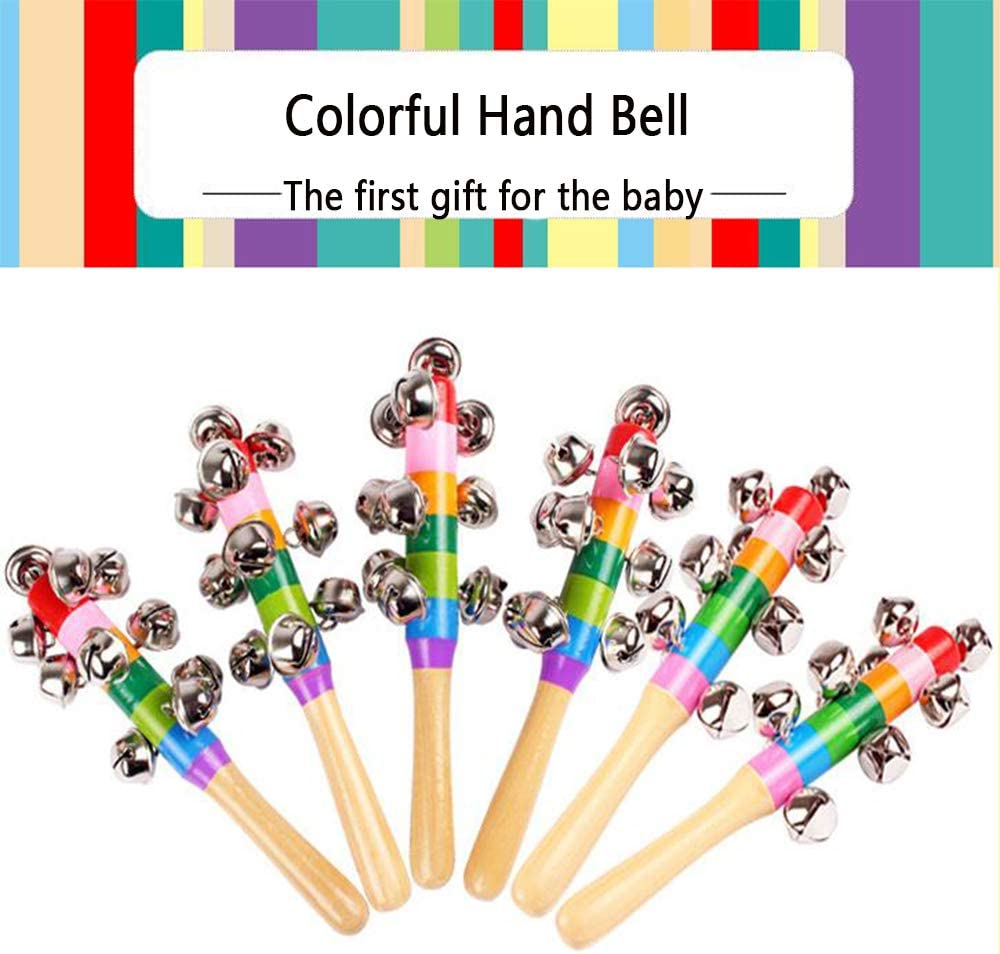 Onefont STSUNEU 3Pcs Colorful Wooden Hand Jingle Bells Rainbow Hand Bells for Kids Christmas Music Jingle Bell Toy Hand Percussion Shaker Bells