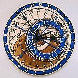 WWSC Reloj De Pared Relojes De Madera Silenciosos 30 Cm Creativo Europeo Astronómico Reloj De Pared Redondo Restaurante Bar Art Deco - Reloj Seguro 36cm