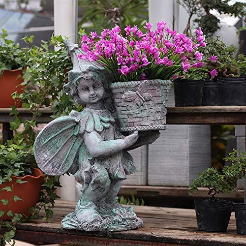 Figura Decorativa para jardín Flor De Hadas Al Aire Libre De La Maceta Impermeable óxido De Magnesio Estatua Del Jardín Para La Yarda Del Césped Del Paisaje Decoración Hace El Regalo -42 * 26 * 55cm A