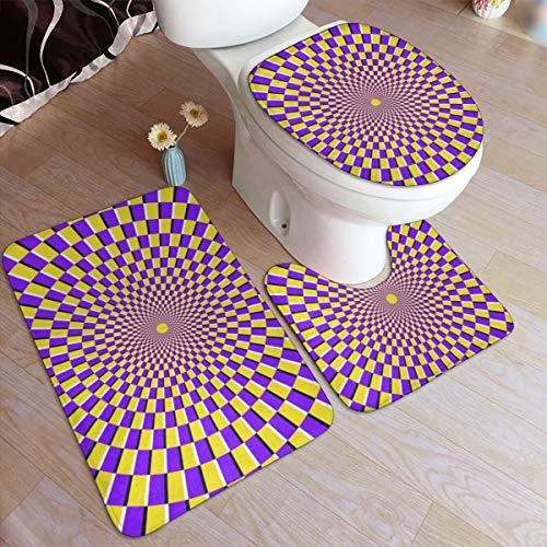 JOJOSHOP - Juego de 3 alfombrillas de baño con diseño de espiral óptica de 3 piezas, almohadillas antideslizantes, alfombrilla de baño + contorno + cubierta de tapa de inodoro, almohadilla antideslizante de 19,5 pulgadas a 31,5'