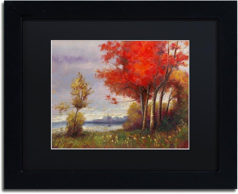 Trademark Fine Art Landscape with Red Trees by Daniel Moises, Black Matte, Black Frame 11x14