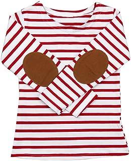 1ccaaf5de QUICKLYLY Camisetas de Manga Larga Niños Raya Pull-over Sudaderas paraBebé  Blusas
