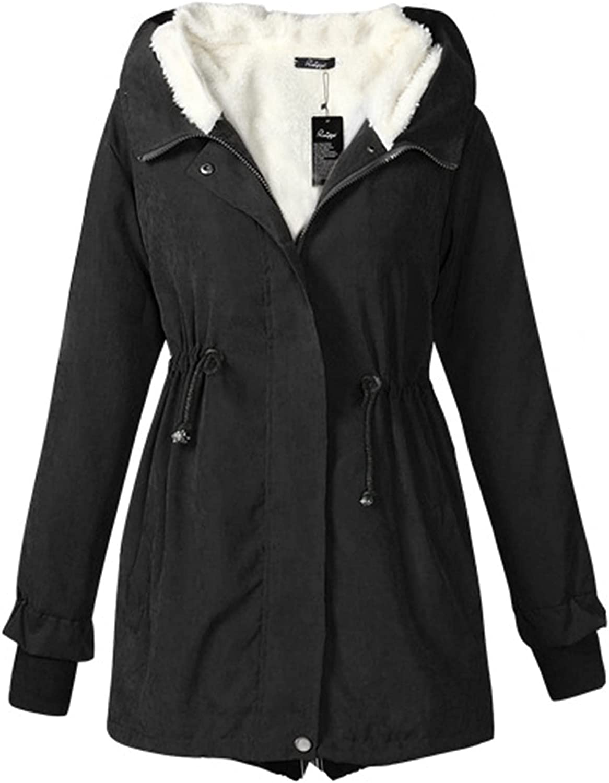 Cardigan for Women Waist Drawstring Slim Shirt Solid Color Thicken Fleece Lined Tunics Outdoor Windproof Coat