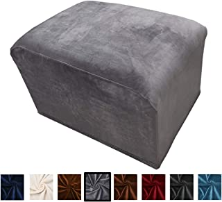 Argstar Velvet Ottoman Cover Protector Stretch Slipcover Elastic for Sofa Sets, Grey