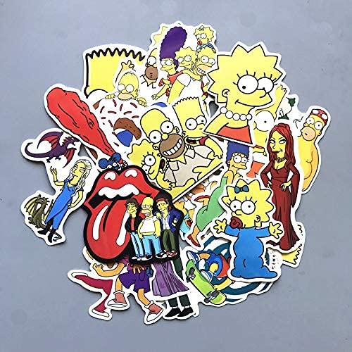 XXCKA Autocollant Valise The Simpsons, Tendance, personnalité, Dessin animé, Anime, étanche, déco Voiture, autocollant carrosserie