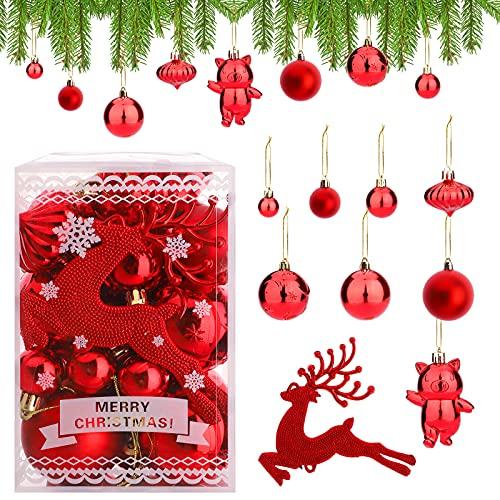 Hileyu 30 Pezzi Palline di Natale Rosse Palle per Albero di Natale Palla di Natale Ornamenti per Dell'Albero Plastica Palla di Natale per la Festa di Natale Decorazione della Festa Nuziale