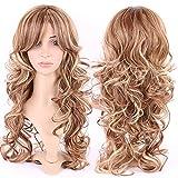 Parrucca da donna con capelli veri naturali lunghi 51 cm, bionda con frangia laterale ondulata, per feste quotidiane