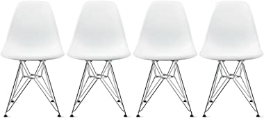 2xhome Set of Four (4) - Plastic Side Chair Chromed Wire Legs Eiffel Legs Dining Room Chair - Lounge Chair No Arm Arms Armless Less Chairs Seats Wire Leg (White)