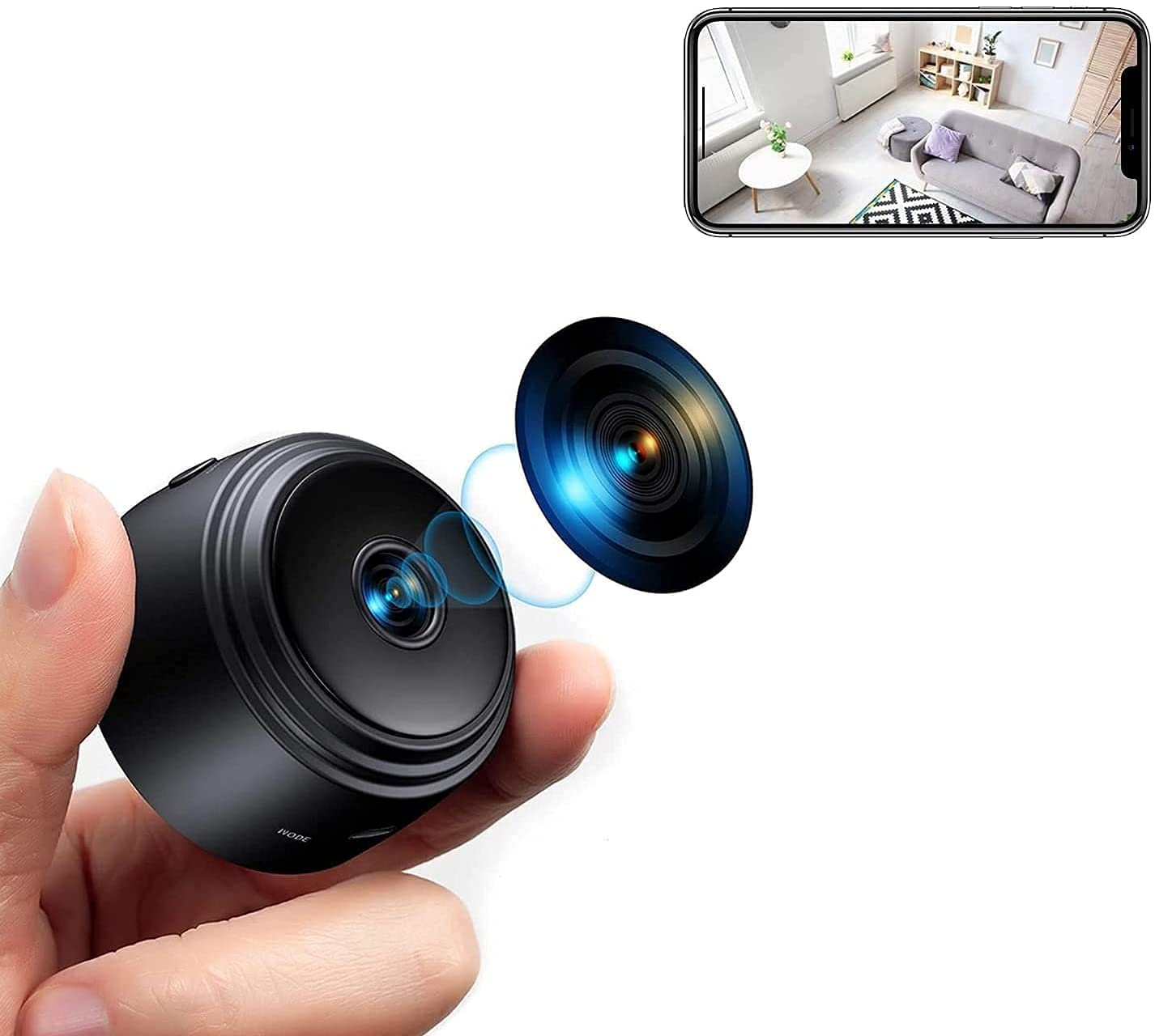 Mini WiFi Spy Camera 1080P, Wireless Hidden Spy Cam Audio and Video Recording Live Feed,Nanny Camera with Night Vision and Motion Detectio, (2021 Upgraded Phone APP)