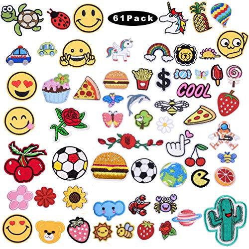 Sunshine smile 60PCS aufnäher Kinder Zum Aufbügeln für DIY Patches zum Aufbügeln Applikation Flicken Zum Aufbügeln Patch Sticker Jeans Kleidung Patches Pflanzen Tiere Cartoon
