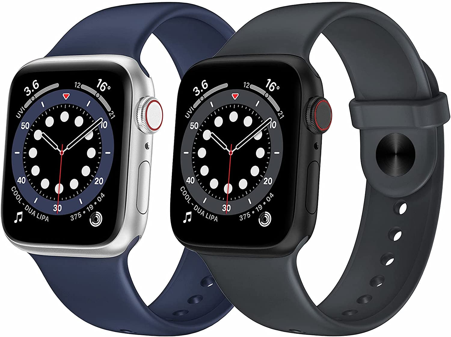 OUHENG 2 Pack Sport Band Compatible with Apple Watch Band 41mm 40mm 38mm 45mm 44mm 42mm, Silicone Band Replacement Strap for iWatch Series 7/6/5/4/3/2/1 SE (Dark Gray/Midnight Blue, 41mm 40mm 38mm)