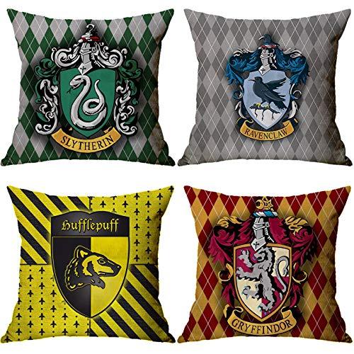 Lufria Set di 4 Fodere per Cuscini Harry Potter Fodere per Cuscini Decorativi Fodere per Cuscini Fodere per Divano Federa Fodere per Cuscini Divano 45x45 cm