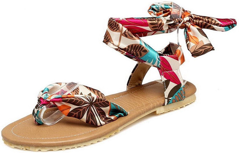 WeenFashion Women's Blend Materials Split Toe Assorted color Lace-up Sandals