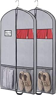 Syeeiex Sac de Rangement pour v/êtements de Voyage Housse de Transport Respirante avec fen/être Transparente poign/ée de Transport et Sac /à Chaussures 137 cm x 60 cm x 10 cm