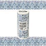 ニトムズ デコルファ (decolfa) インテリア マスキングテープ ダマスク/ブルー キレイにはがせる 幅10cm×長さ8m M3706