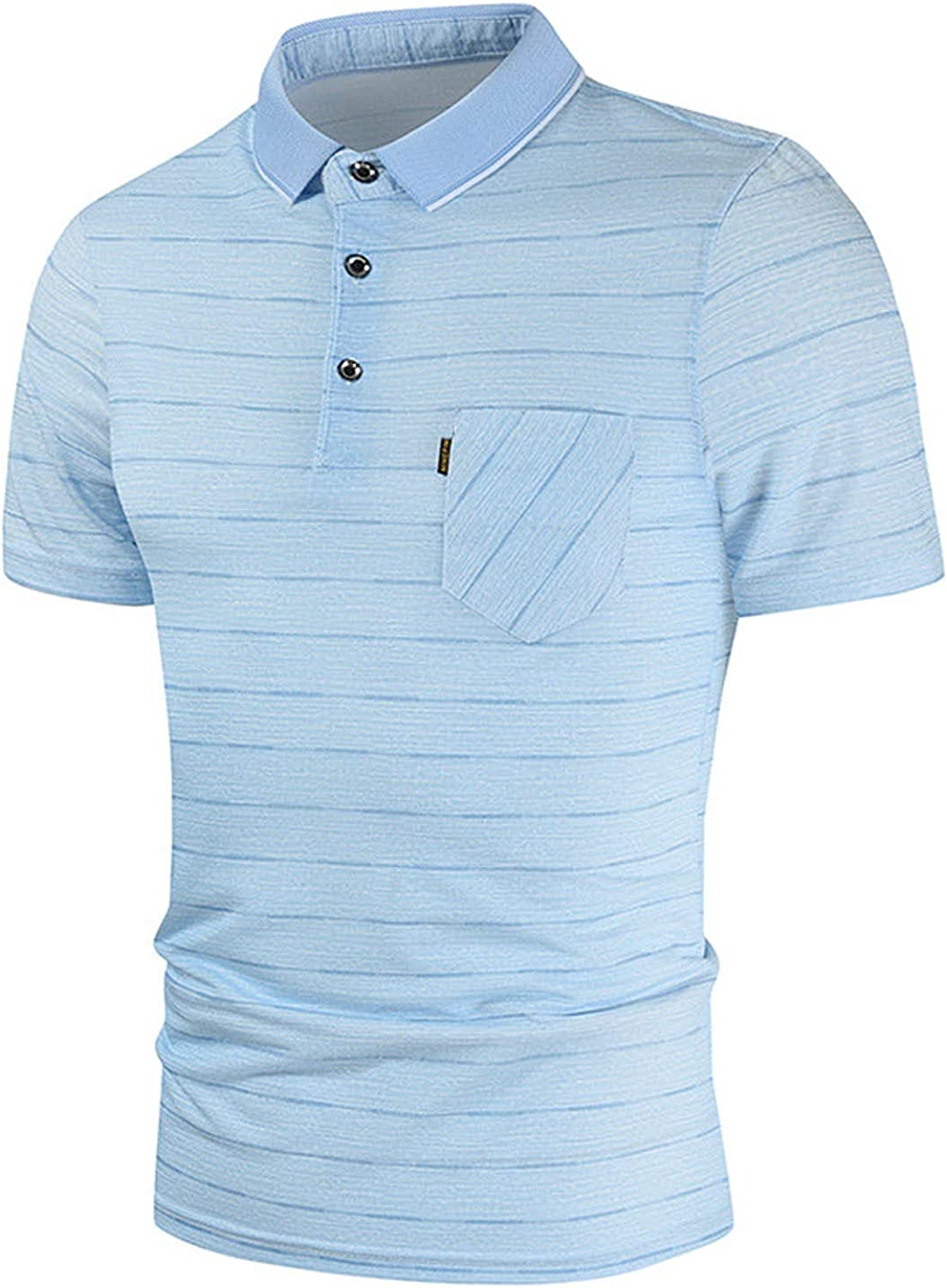 LIEIKIC Men's Short Sleeve Casual Striped Contrast Color Polo Shirts with Pockets