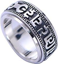 ForFox Anillo Giratorio Mantra Om Mani Padme Hum Budista de Plata de Ley 925 para Hombres Mujeres 10mm
