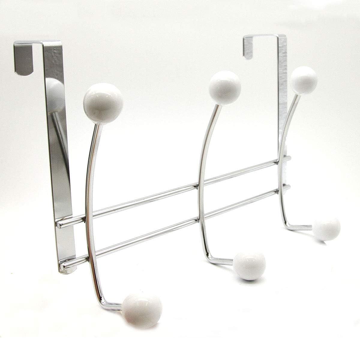EVIDECO 9604100 Door 6 Metal Rack Industry No. 1 White Chrome Hooks 1 year warranty