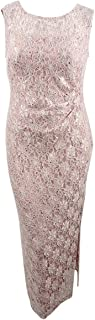 Connected Women's Petite Sequined Lace Gown (12P, Dusty Nude)