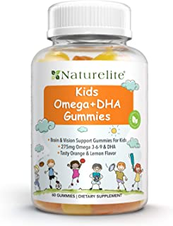 Naturelite Omega 3 6 9 DHA Vegetarian Gummies for Kids | Made from Algae & Chia -NO Fish Oil, NO Krill | Supports Brain & ...