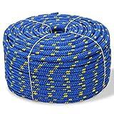 vidaXL Bootsseil Polypropylen 10mm 50m Blau Ankerleine Festmacher Tauwerk Seil