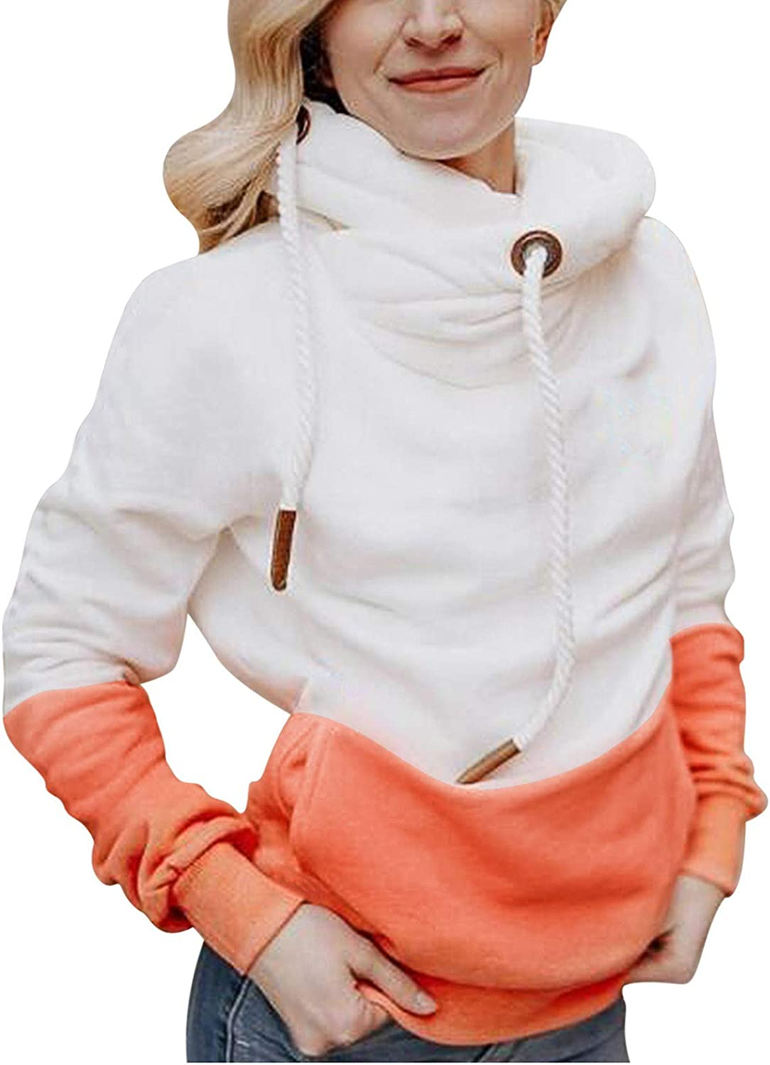 5 ☆ very popular Womens Funnel Neck Hoodie Color Tunic D Striped Sweatshirt Max 48% OFF Block