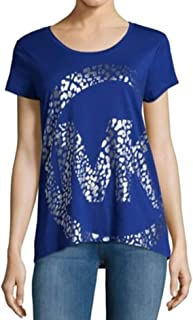 Michael Michael Kors Women's Leopard-Print Logo T-Shirt, Royal