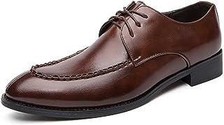 DADIJIER Oxfords Vestido Zapatos para Hombres Puntos Puntiagudos del Delantal del Delantal de 3 Ojos Encaje de Costura Blo...