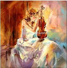 SANSNMI 100% لوحة زيتية فنية جدارية لديكور المنزل وغرفة المعيشة والبنت تلعب الكمان على قماش, 110x110cm