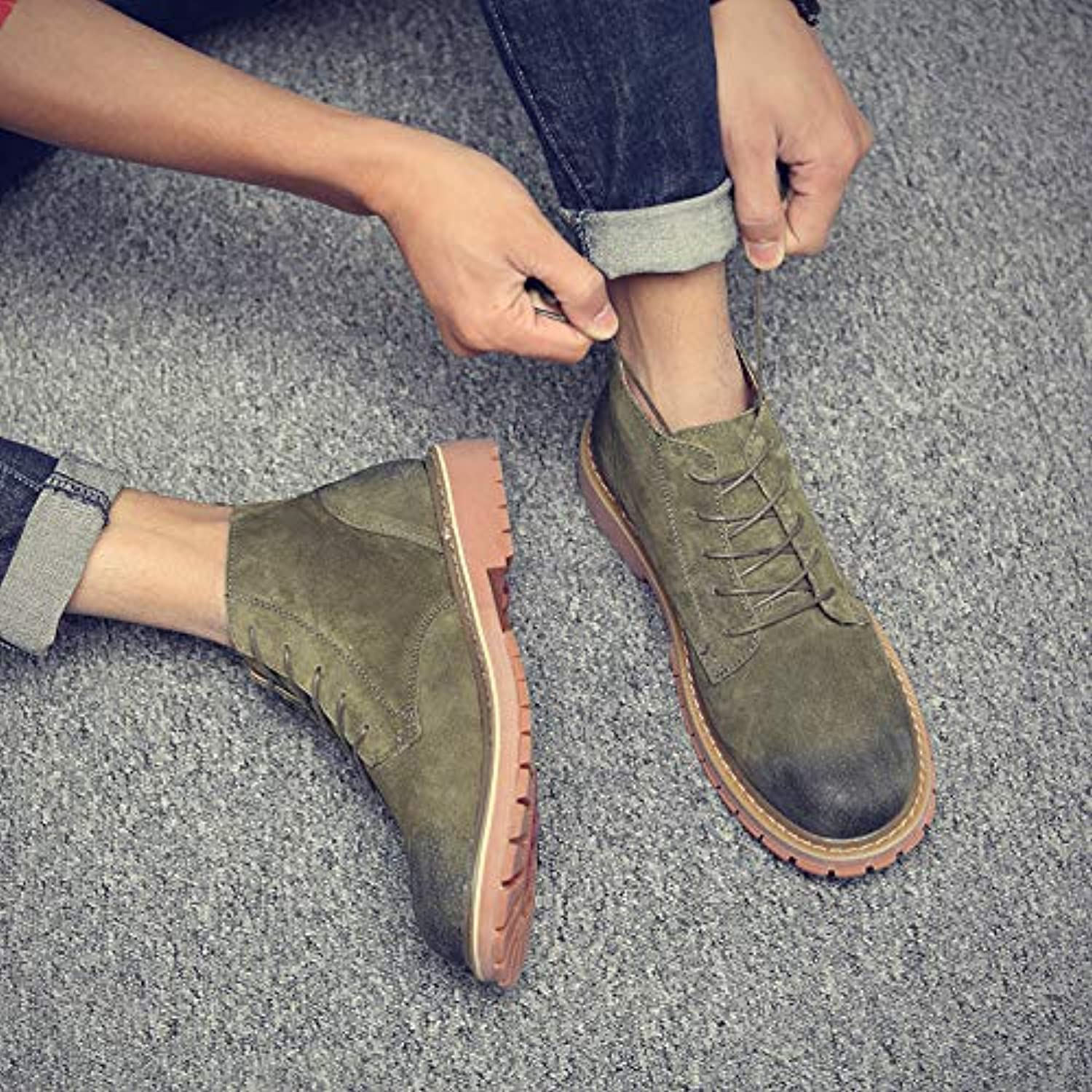 Shukun Men's boots Martin Boots Men Help Students Wild High Help Tool shoes Retro Pu Casual Boots