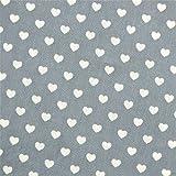 0,5m Stoff Herzen hellgrau-weiß 1,4m breit Meterware Herz