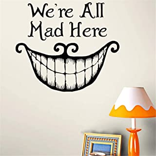 Siehu Alice in Wonderland We're All mad here Vinyl Quote Decals Wall Stickers Home Decor Removable DIY Art Wallpaper