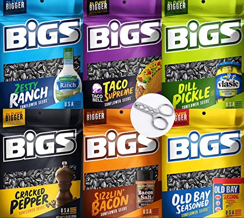 Sunflower Seeds Bigs Variety Pack 5.35 oz Resealable Bags: Ranch, Bacon, Dill Pickle, Old Bay Seasoned, Cracked Pepper, Taco Supreme Sunflower Seeds + BONUS Seed Cracker