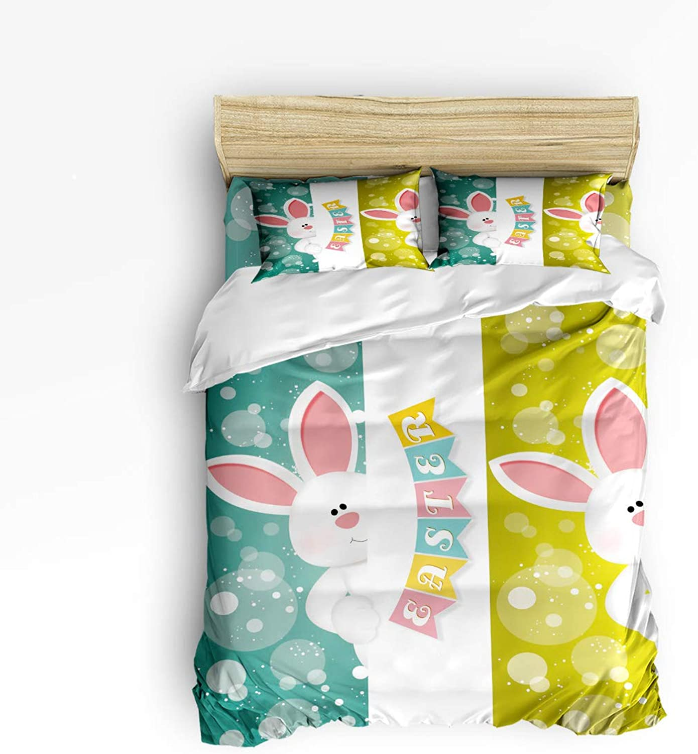 Fandim Fly Bedding Set Queen Size Cartoon Rabbit,Comforter Cover Sets for All Season