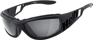 HELLY - No.1 Bikereyes | Bikerbrille, Motorradbrille, Motorrad Sonnenbrille | winddicht, gepolstert, beschlagfrei, bruchsicher | TOP Tragegefühl bei langen Ausfahrten | Brille: vision 3