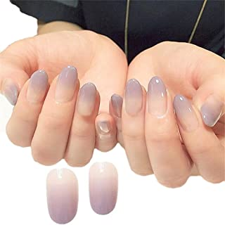 JINDIN 24 Sheet French Fake Nails for Women Decorated Full Cover False Acrylic Nail Tips Manicure Art Nude Purple