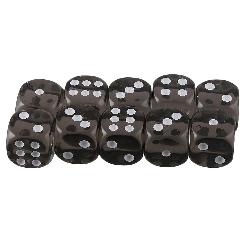 【ノーブランド品】 10個セット TRPGゲーム アクリル おもちゃ 六面ダイス D6 ダイス サイコロ 全10色 - ブラック
