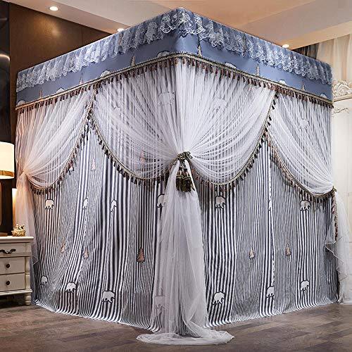 WUANNI Moskitonetz MäDchen Betthimmel,Moskitonetz integriert bodenständige Prinzessin Windbett Vorhang staubdicht-L_1.2X2.0-Fabric_Curtain-Bracket-Account_Yarn