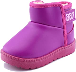 SENFI Boy's Girl's Waterproof Fur Lining Flat Short Ankle Winter Snow Boots(Toddler/Little Kid) Pink Size: 7 Toddler