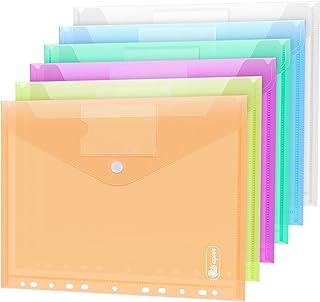 12 pochette plastique A4 classeurs et chemises, 6 couleurs pochettes transparentes, porte-documents bouton avec 11 trous e...