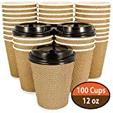 100 Pack 12 oz Disposable Coffee Cups with Lids [12oz - 16oz] Fully Insulated Double Walled Paper Coffee Cups with Lids - No Sleeves Needed - to Go Coffee Cups Leak Proof - Microwaveable Hot Cups togo