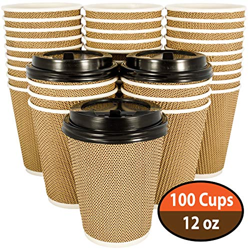 100 Pack OzBSP Premium Disposable Coffee Cups with Lids 12 oz. Stylish Ripple Wall Design Double Wall Insulated To Go Paper Coffee Cups. No Sleeves Needed. 12oz Hot Cups Reusable Cup Travel Coffee Cup