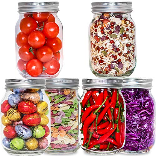 EAXCK Glass PitcherMason Jars 16oz Glass Jars with Silver Metal Airtight Lids for Food Storage Canning Drinking Jelly Dry Food Salads Yogurt 6 Pack 16oz