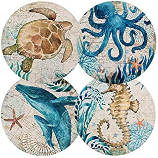Ceramic Coaster Set of 4 Absorbent Stone Coasters for Cold Drinks Coffee Mug Glass Cup Place Mats (Ocean Life) [並行輸入品]