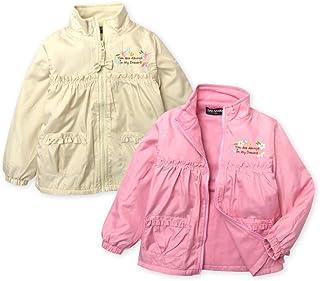 子供服 女の子 アウター フルジップ ジャケット 裏フリース 刺繍 フリル リボンチャーム 女児 キッズ