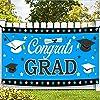 XtraLarge 72 x 44インチ Congrats Grad バナー - ブルー 卒業バナー 2021 | ブルーとホワイト 卒業デコレーション 2021 | おめでとうバナー 卒業背景 | ブルー 卒業パーティー用品 2021
